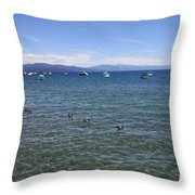 Parade Of Geese Throw Pillow by Carol Groenen