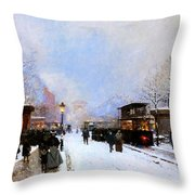 Paris in Winter Throw Pillow by Luigi Loir