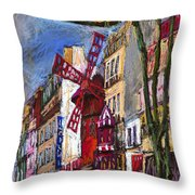 Paris Mulen Rouge Throw Pillow by Yuriy  Shevchuk