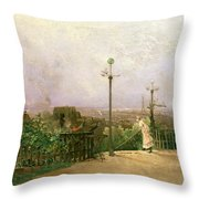 Paris Seen From The Heights Of Montmartre Throw Pillow by Jean dAlheim