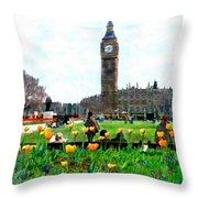 Parliament Square London Throw Pillow by Kurt Van Wagner