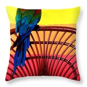 Parrot Sitting On Chair Throw Pillow by Garry Gay
