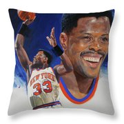 Patrick Ewing Throw Pillow by Cliff Spohn
