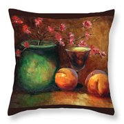 Peach Blossoms Throw Pillow by Linda Hiller