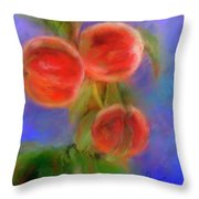 Peachy Keen Throw Pillow by Colleen Taylor