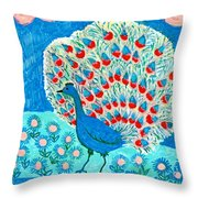 Peacock And Lily Pond Throw Pillow by Sushila Burgess
