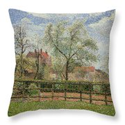 Pear Trees And Flowers At Eragny Throw Pillow by Camille Pissarro