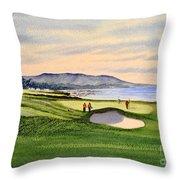 Pebble Beach Golf Course Throw Pillow by Bill Holkham
