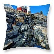 Pemaquid Point Lighthouse Reflection - seascape landscape rocky coast Maine Throw Pillow by Jon Holiday