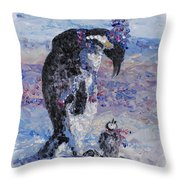 Penguin Love Throw Pillow by Nadine Rippelmeyer
