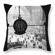 Penn Station Clock Throw Pillow by Van D Bucher and Photo Researchers