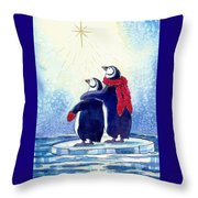 Penquins An Christmas Star Throw Pillow by Peggy Wilson