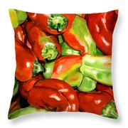 Peppers Throw Pillow by Nadi Spencer