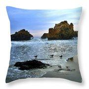 Pfeiffer Beach Evening - Big Sur Throw Pillow by Charlene Mitchell