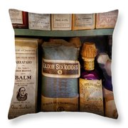Pharmacy - Oils And Balms Throw Pillow by Mike Savad