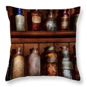 Pharmacy - Caution Don't Mix Together Throw Pillow by Mike Savad