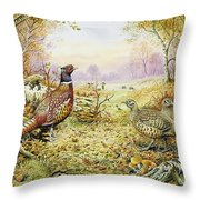 Pheasants In Woodland Throw Pillow by Carl Donner