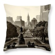 Philadelphia Benjamin Franklin Parkway In Sepia Throw Pillow by Bill Cannon
