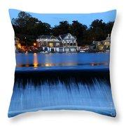 Philadelphia Boathouse Row At Twilight Throw Pillow by Gary Whitton