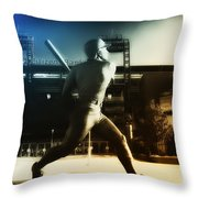 Philadelphia Phillie Mike Schmidt Throw Pillow by Bill Cannon