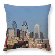 Philadelphia Standing Tall Throw Pillow by Simon Wolter