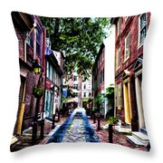 Philadelphia's Elfreth's Alley Throw Pillow by Bill Cannon