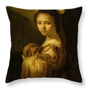 Picture Of A Young Girl Throw Pillow by Govaert Flinck