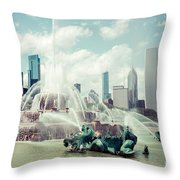 Picture of Buckingham Fountain with Chicago Skyline Throw Pillow by Paul Velgos