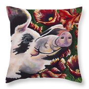 Pig 'n Poppies Throw Pillow by Shawna Elliott