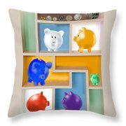 Piggy Banks Throw Pillow by Arline Wagner