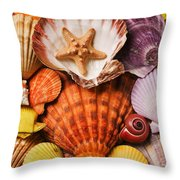 Pile Of Seashells Throw Pillow by Garry Gay