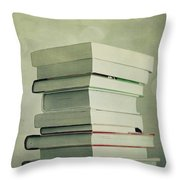 Piled Reading Matter Throw Pillow by Priska Wettstein