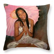 Pink And Brown Throw Pillow by Ylli Haruni