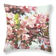 Pink Apple Blossoms Throw Pillow by Sandra Cunningham