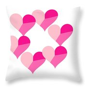 Pink Candy Hearts Throw Pillow by Michael Skinner