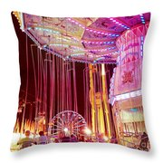 Pink Carnival Festival Ferris Wheel Night Ride Throw Pillow by Kathy Fornal