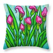 Pink Ladies Throw Pillow by Lisa  Lorenz