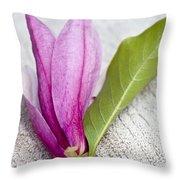 Pink Magnolia Flower Throw Pillow by Frank Tschakert