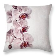 Pink Orchid Vintage Throw Pillow by Jane Rix