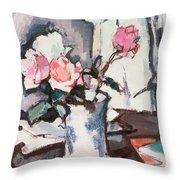 Pink Roses Throw Pillow by Samuel John Peploe
