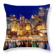 Pittsburgh Pennsylvania Skyline At Night Panorama Throw Pillow by Jon Holiday