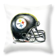 Pittsburgh Steelers Helmet Throw Pillow by James Sayer