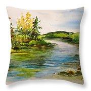Plein Air At Grand Beach Lagoon Throw Pillow by Joanne Smoley