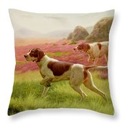 Pointers In A Landscape Throw Pillow by Harrington Bird