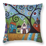 Polkadot Church Throw Pillow by Karla Gerard