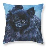 Pomeranian black Throw Pillow by Lee Ann Shepard