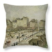 Pont Neuf Snow Effect Throw Pillow by Camille Pissarro
