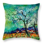 Poppies And Appletrees In Blossom Throw Pillow by Pol Ledent