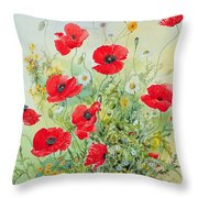 Poppies And Mayweed Throw Pillow by John Gubbins
