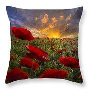 Poppy Field Throw Pillow by Debra and Dave Vanderlaan